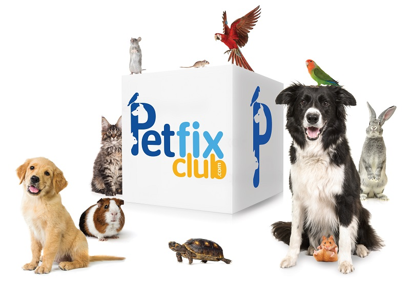 Dog, cat, bird, turtle, bunny rabbit, guinea pig, rat, mouse surrounding petfix club cube