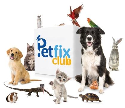 Dog, cat, bird, turtle, bunny rabbit, guinea pig, rat, mouse surrounding petfix club cube