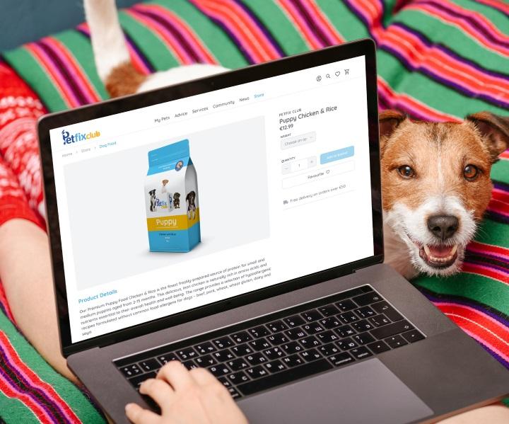 Laptop screen displaying petfix own brand dog food