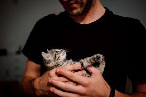 man holding kitten