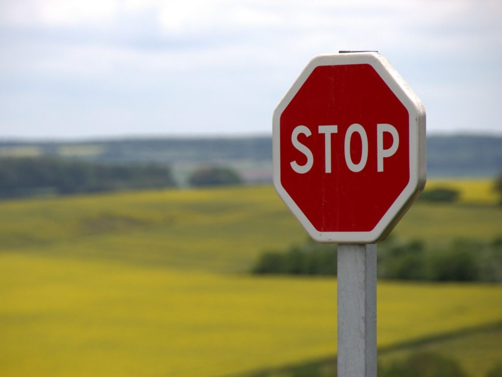 stop sign in the grass