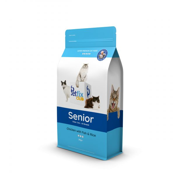 Petfix club senior cat dry food - chicken, fish and rice