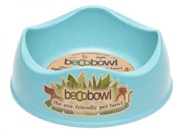 BECO Bamboo dog bowl blue