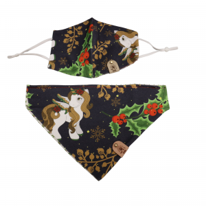 one of a kind Face Mask and Dog Bandana Set - Unicorn