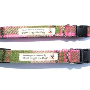 Pink Tweed Dog Collar