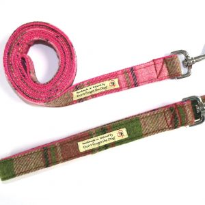 don't forget the dog pink tweed dog lead