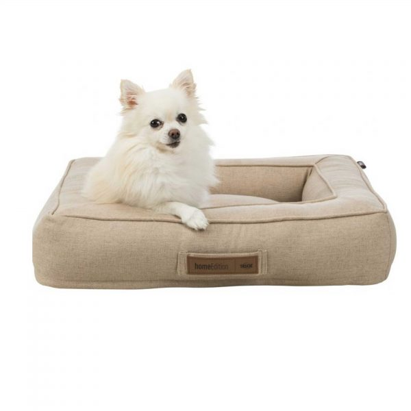 Dog sitting in a light sand colour dog bed