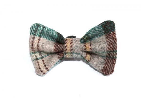 don't forget the dog yellow and green tweed bow