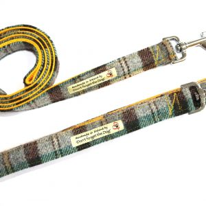 don't forget the dog yellow tweed lead with metal clasp