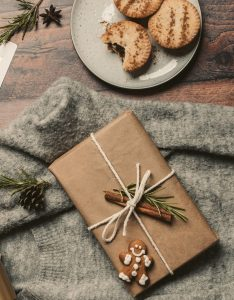 Christmas gift and cookies