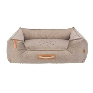 rectangular light brown dog bed with rope handle at front