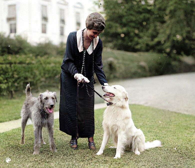 Grace Coolidge with dogs