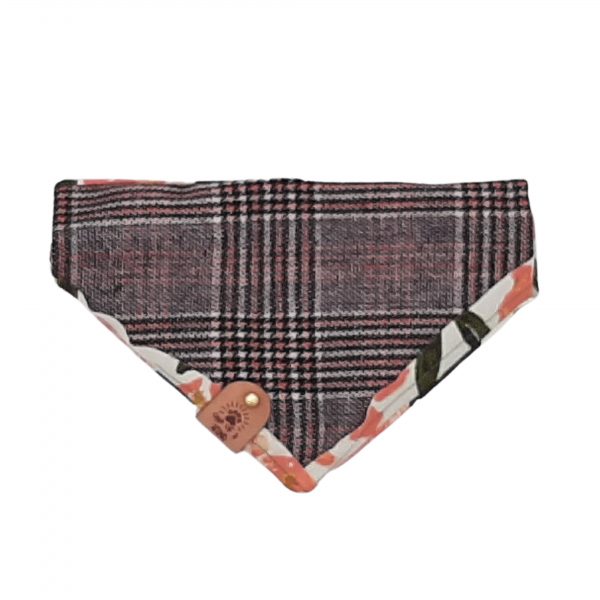 One of a kind tweed reversible bandana with a floral trim