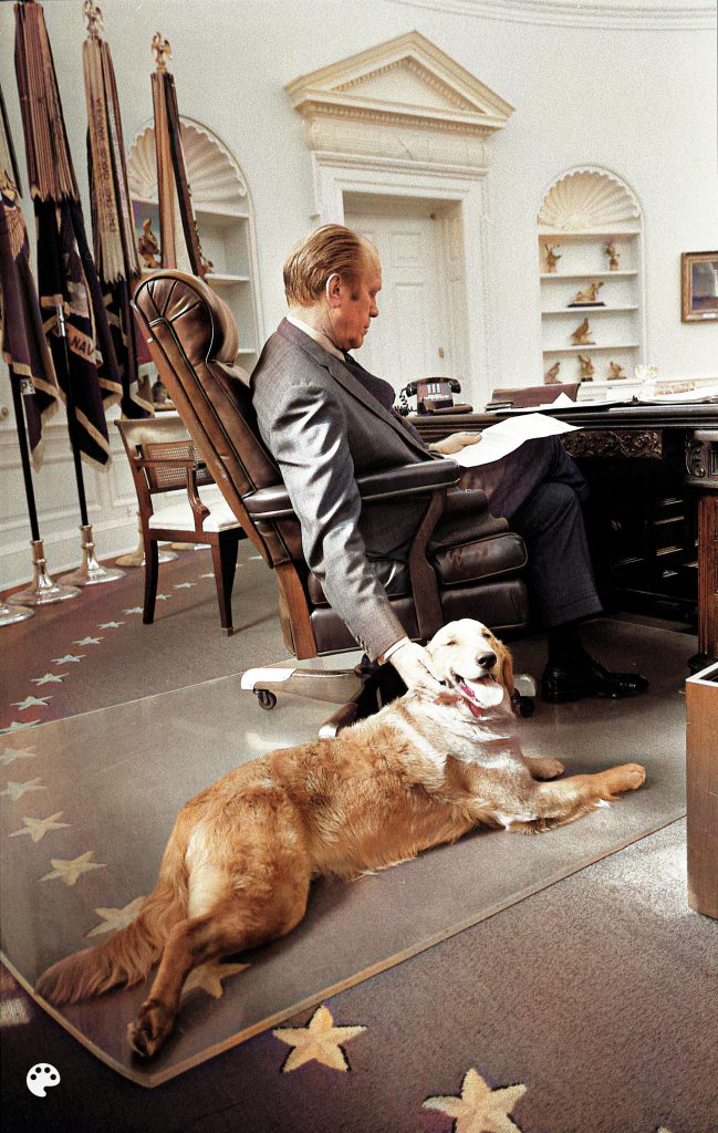President Ford and his golden retriever Liberty