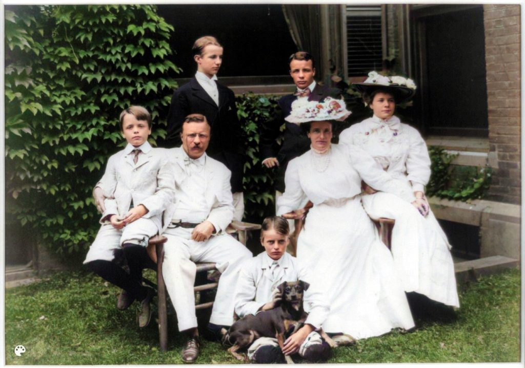 Theodore Roosevelt and Family and dog
