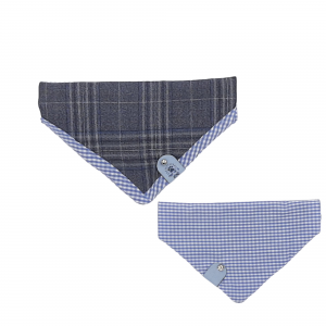 One of a Kind Reversible Bandana for Dog – Tweed & Blue Check