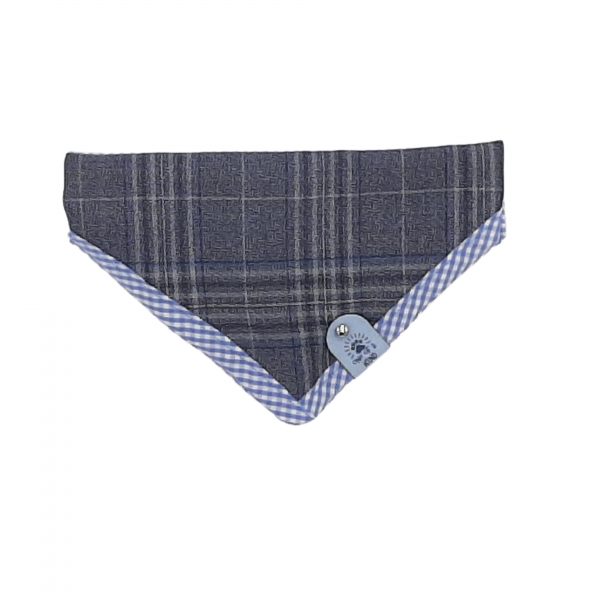 One of a Kind tweed bandana with blue check ribbon