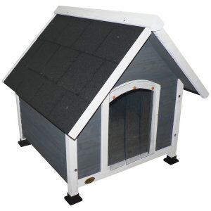 Cheeko Apex Roof Wooden Dog Kennel Grey Small