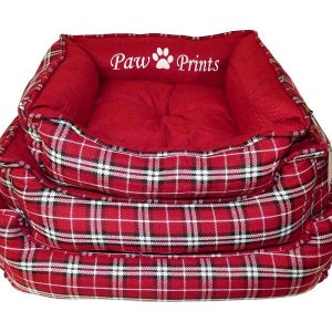 red tartan dog bed