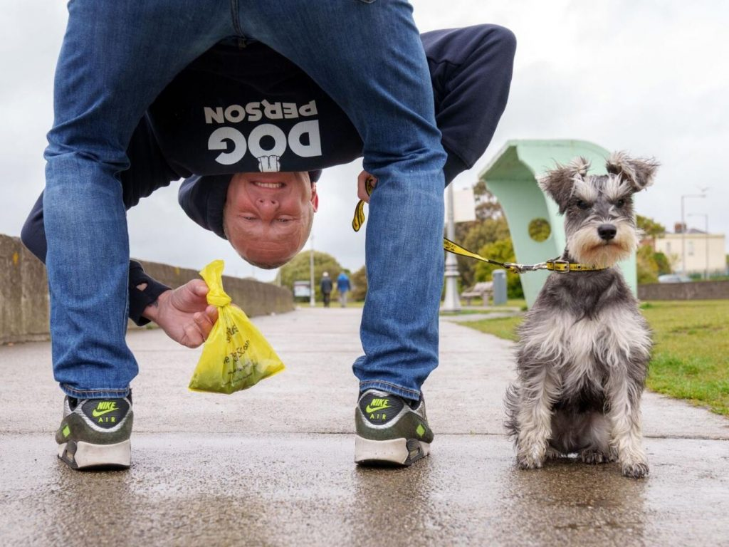 pj gallagher and dog for the dogs trust big scoop campaign