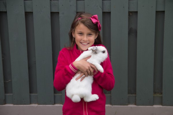 little girl in pink with white rabbit